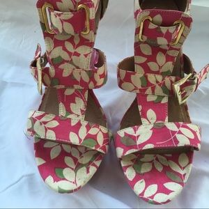 Pink and White Floral Heels